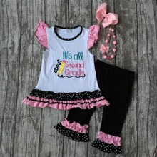 baby girls boutique clothing girls back to school Second Grade outfits baby children pencil school outfits with accessories