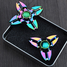 NEW Metal Tri-Spinner Fidget Cool Finget spinner Decompression Toys Colorful fidget spinner EDC Gyro spiner Toys With Retail Box