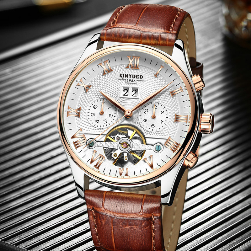 KINYUED Luxury Skeleton Tourbillon Watch Men Rose Gold Automatic Self-Wind Mechanical Wristwatch Sports Business Montre Homme<br>