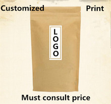 Free Shipping 500pcs/lot Customized Print LOGO Kraft/White Paper Ziplock Bag Food Cookie Packaging Bag
