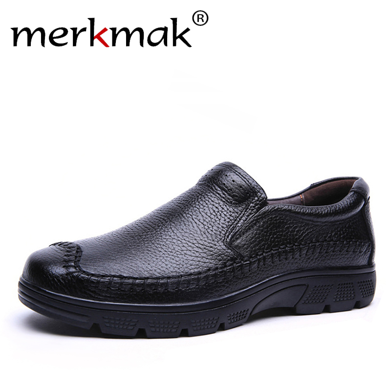 Merkmak New Luxury Brand Casual Men Genuine Leather Loafers Shoes Plus Size 37-50 Handmade Moccasins Shoes Men Flats Hot Sale<br>