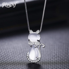 JYouHF 2017 Cute Cat Necklaces Pendants for Women White/Rose Gold Color Crystal Pendants & Necklaces for Girls Fashion Jewelry(China)