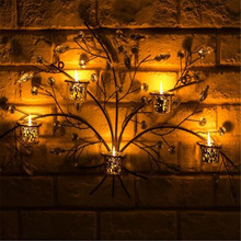 New Metal Crystal Artificial Plant Tree Wall Hang Candle Holder Christmas Halloween Day Black No Candle CD006(China)