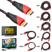 0.5m 1m 1.8m 3m 5m 10m 15m Weaving Red Braided HDMI Cable V1.4 AV HD 3D for PS3 for Xbox HDTV 0.5-15m Meters 1080P Promotion(China)