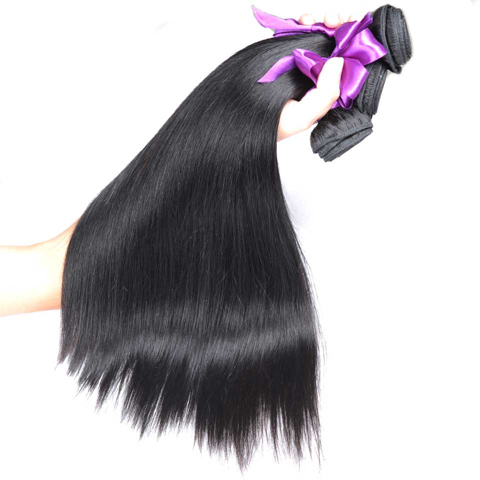 Brazilian Straight Hair Weave Bundles Nature Black 1B No Split Ends human hair extensions  (20)