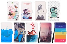 Fashion Cartoon Painting PU Leather Stand Flip Cover Cases For Micromax Q340 Canvas Selfie 2 Case With Card Slot& Lanyard gift
