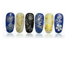 Beauty DIY Decoration Tools 108Pcs 3D Silver/ Gold Nail Art Stickers Decals Stamping(China)