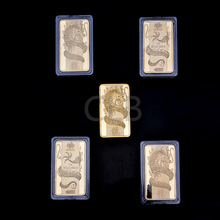 Wholesale 1 Oz Gold Bar Ancient Chinese Suisse Dragon Gold Bullion Bar with Plastic Case Metal Craft for Home Decor