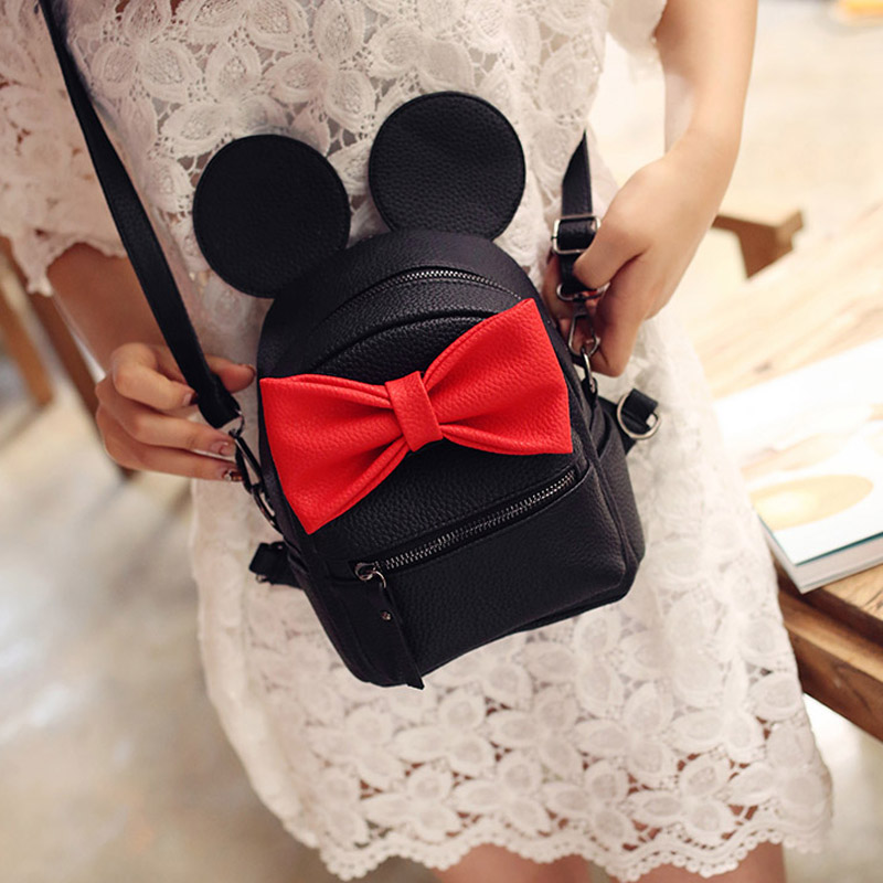 2017 new Baby girls kids backpack Cartoon cute butterfly knot Minnie backpack princess Mini Bag bow mouse ears black pink gray<br><br>Aliexpress