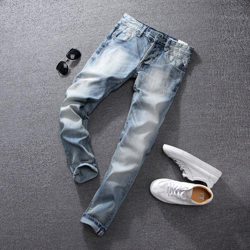 Summer Style White Wash Men Jeans High Quality Slim Fit Stripe Jeans Mens Pants Brand Light Blue Color Skinny Fit Biker JeansÎäåæäà è àêñåññóàðû<br><br>