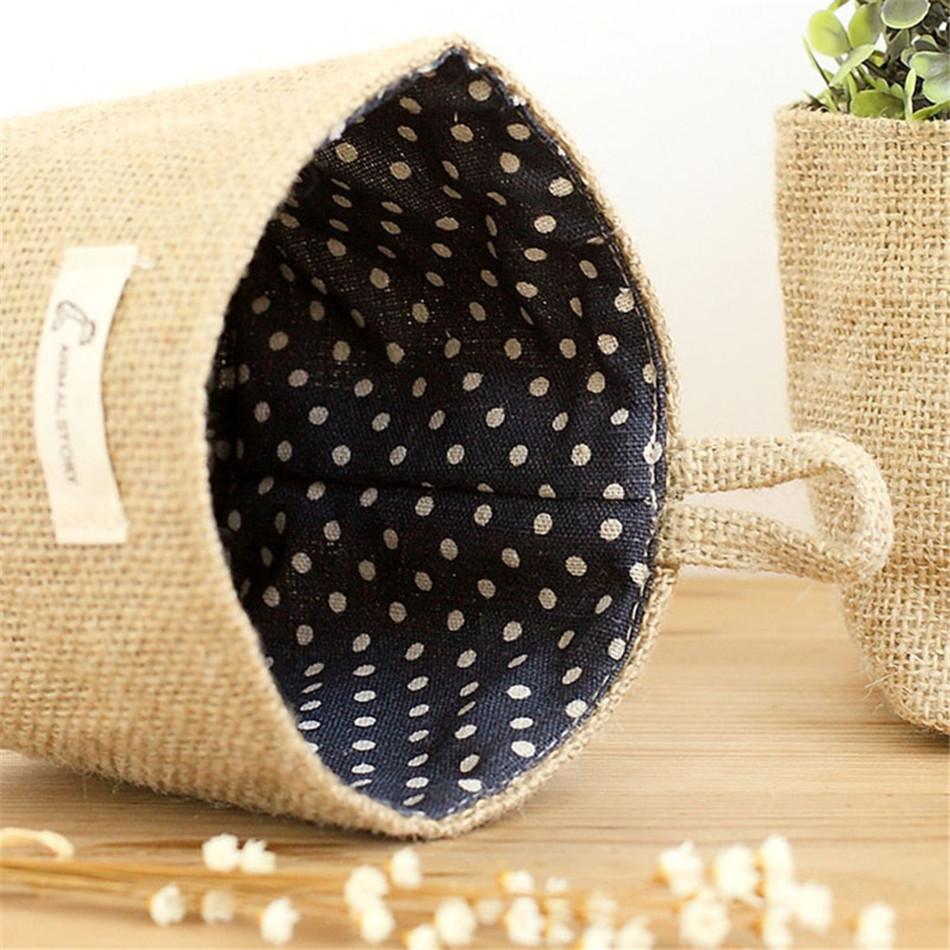 Linen Woven Storage Basket Polka Dot Small Storage Sack Cloth Hanging Non Woven Storage Basket Buckets Bags Kids Toy Box (4)