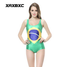 XAXBXC 1143 Summer Sexy Girl Swimwear Bodysuit National Flag Of Brazil 3D Prints One Piece Women Swimsuit Sport Bathing Suit