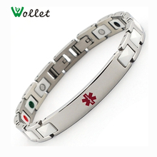 Wollet Hot New Fashion 5 in 1 Infrared Tourmaline Germanium Negative Ion White Magnetic Ceramic Bracelet(China)