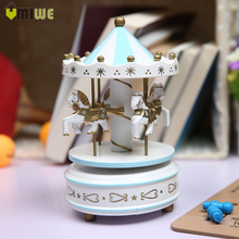 Merry-Go-Round Wooden Carousel Music Box Toy Child Baby Game Home Decor Carousel horse Music Box Christmas Wedding Birthday Gift