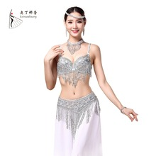 2017 Women Bellydance Clothes Eastern Style Beaded Top and Belt 2pcs Set Costumes for Belly Dance Bra Costume with Necklace(China)