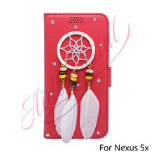 Aidocrystal Luxury NEW Leather Wallet Cover For Google Nexus 5x Nexus5X Flip Stand Pouch With Card Slots Dream Catcher Cases red