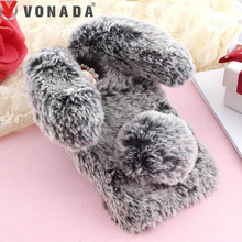 Vonada Plush Case Lenovo A2010 A2020 A1010 A8 A7600 A6000 A536 A328 Cute Rabbit Ears Fur Cover TPU Jewelled Soft Case Cover