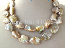 $wholesale_jewelry_wig$  Unusual Lavender Pink Brown Rainbow Keshi Keishi Baroque Pearl Necklace 34""