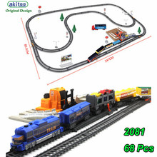 akitoo 1021 Electric light rail car full length 762CM Thomas train children diy toys loading station parent-childtoys gift(China)