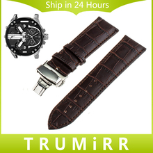 Genuine Leather Watch Band 20mm 22mm 24mm for Diesel Men Women Stainless Steel Butterfly Buckle Strap Wrist Bracelet Black Brown