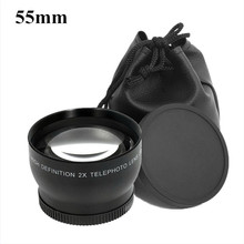 55mm Telephoto Lens 2.0X 55 2X Optical Tele Lenses Bag Front  Back Cap 62mm  For Sony NEX A290 A580 A200 A450 A330 HX300 1ps