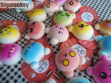 Big monkey NEW 40pcs/Lot, 4.5CM PU corful Kawaii Mini Lovely expression of bear  Squishy Cell Phone Charm with tag