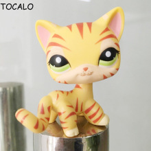 8cm Lovely Pet Collection Action Figure LPS Cat #1451 Orange & Yellow Striped Tiger Kitty With Opp Bag