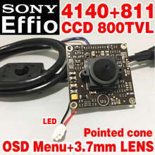 "Sony Chip 3.7mm pointed cone Analog hd Mini Monitor camera module 1/3"" CCD Effio 4140+811 800tvl OSD meun surveillance products"