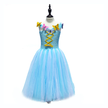 Blue and White Children Girls Cinderella Tutu Dress Flower Girl Long Dress with Butterfly Princess Summer Style Party Dresses(China)
