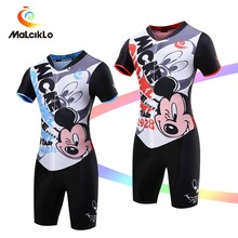 Malciklo Cycling clothing Short Jumpsuit 2017 men Mickey Mouse V-neck Elasticity Tight Bike Jersey Bicycle Coveralls