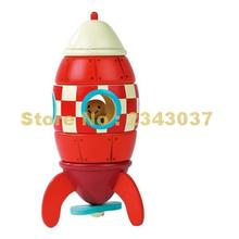 JANOD 1 Piece Janod Magnetic Magnet Rocket Plain Wood Building Blocks(China)