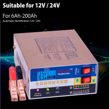 Newest 220V Full Automatic Electric Car Battery Charger Intelligent Pulse Repair Type Battery Charger 12V/24V 100AH(China)