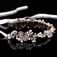 Boho Old Gold Leaf Crown Hairwear Wedding Tiara Headband Rhinestone Bridal Hair Accessories Women Flowers Hair Jewelry Headpiece(China)