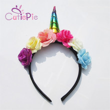CUTIEPIE Elegant Unicorn Horn with Colorful Flowers Hair Hoop For Girls Birthday Party DIY Ornaments Hair Decoration Gifts(China)