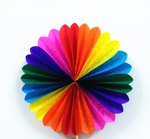 Decorative Crafts 25CM 1PCS Mixed Color Origami Paper Fan Wedding Decoration Home Decorations Birthday Party Decorations Kids(China)