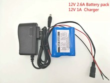 12 V 2600 mAh 18650 Li-ion Rechargeable battery Pack for CCTV Camera 2.6A Batteries+ 12.6V 1A Charger