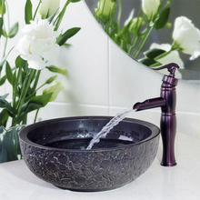 Modern Waterfall Black Ceramic Bowl,Sink,Wash Oil Rubbed Bronze Faucet With Round Ceramic Bathroom Sink Set 460597019
