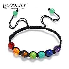 Qcooljly DIY 7 Красочные Натуральный камень Бусины Кристалл чакра браслет для Для женщин плетеная веревка Браслеты рейки духовное Йога(China)