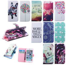 Cute design pattern cute case cover pet with glass funny design leather wallet pouch  For Apple iPhone 6 6G case Cover