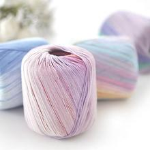 50g/roll 5 Strands Colorful Lace Cotton Yarn Strings Hand Knit Thread Cushion Paddle Blanket Hat Line Knitted Crochet Threads(China)