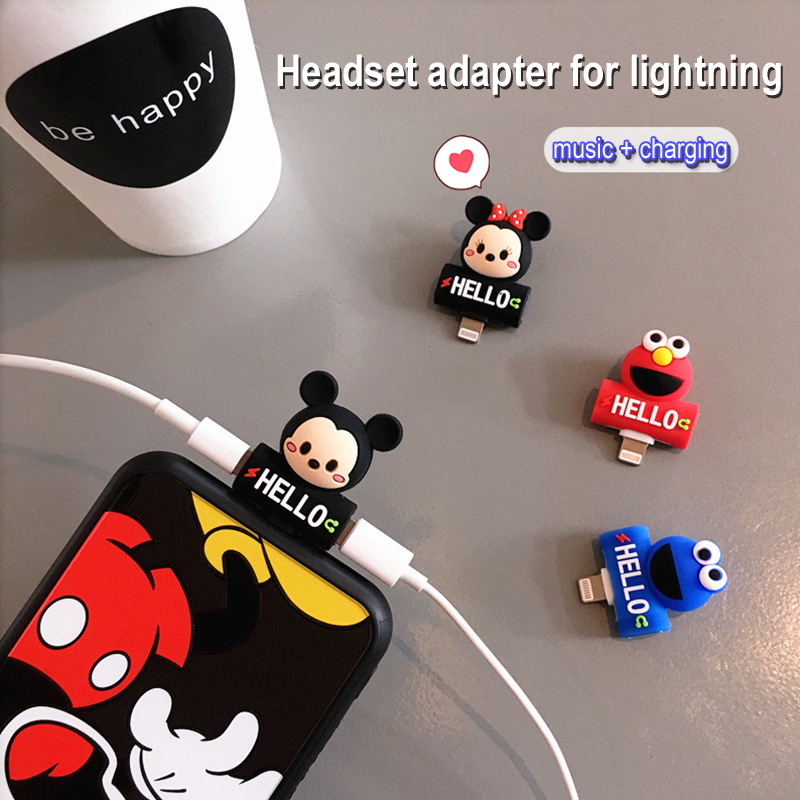 2 in 1 Cute Earphone Splitter Adapter for APPLE Lightning Charging Ports Cartoon Charger Music Converter for iPhone 7/8/X plus(China)
