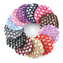 Girls Bun Cover Snood Hair Net Women Ballet Dance Skating Crochet Colorful Elastic Hairnet
