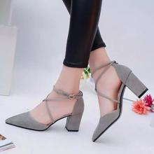 2017 New Summer Style women Lace Up high heels Pointed Toe Bandage Stiletto sandals Elegant celebrity ladies shoes Pumps Black(China)