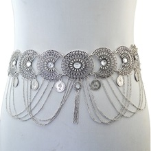 Bohemian Gypsy Belly Chains Silver Bronze Inlay Crystal Hollow Out Flower Chain Tassel Coin Dance Belt Waist Body Chain Jewelry