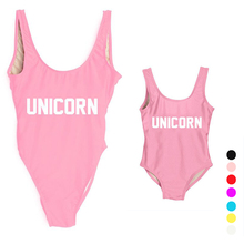 Baby Swimwear Girl One Piece Swimsuit UNICORN Letter Printing Bathing Suit Cute Mom Baby Set Family Clothes Matching Kid Bathing