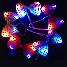 5pcs/set Christmas Led Luminous NeckTie Fashion Flashing Bow Tie Party wedding Dancing Stage Glowing Tie Light Up Toy