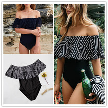 2017 New One Piece Swimsuit Women Vintage Bathing Suits Plus Size Swimwear Beach Padded Print Push Up Black Swim Wear