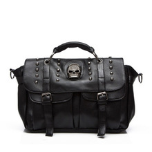 2017 Women Messenger Bags Designer Motorcycle Punk Style Skull Rivet Tote Bag Crossbody Bags for LadiesLeather HandBags AB0060(China)