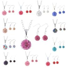 2017 Hot Multicolor Crystal Flower Wedding Jewelry Sets Necklace&Drop Earrings For Women Unique Bohemia Silver Plated Jewelry
