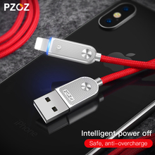 PZOZ For iphone 8 X Lighting Cable USB Fast Charger For iphone 7 6 plus 5 5s se ipad Auto Disconnect Led charging cable Adapter(China)